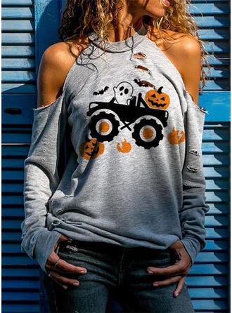 Halloween Print Cold Shoulder Long Sleeves Casual Blouses