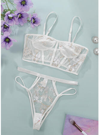 Polyester Embroidery Floral Mesh Sexy Halter Spaghetti Strap Lingerie Set