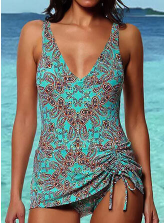 Print Strapless Fashionable Tankinis Swimsuits