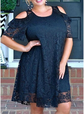 Plus Size Lace Solid 1/2 Sleeves Cold Shoulder Sleeve Shift Knee Length Casual Elegant Dress