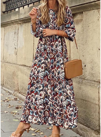 Print/Floral A-line Skater Casual/Vacation Maxi Dresses