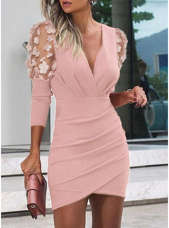 Lace/Solid Long Sleeves/Puff Sleeves Bodycon Above Knee Party/Elegant Dresses
