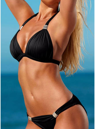 Solid Color Halter Sexy Bikinis Swimsuits